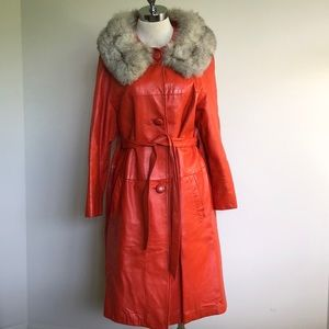 Groovy Vintage Leather Coat with Real Fur Collar
